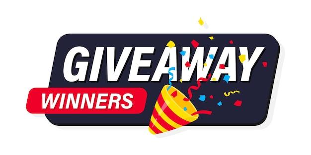 Popper festivo che esplode con lettere tipografiche moderne giveaway. giveaway, entra per vincere. party popper con coriandoli. concetto di regalo per i vincitori. modello di post sui social media per il design della promozione
