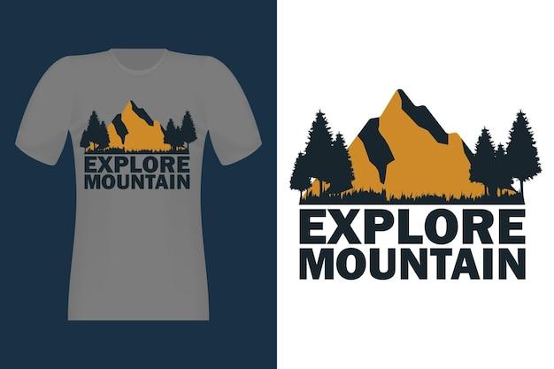 Esplora il design di t-shirt vintage disegnato a mano di montagna