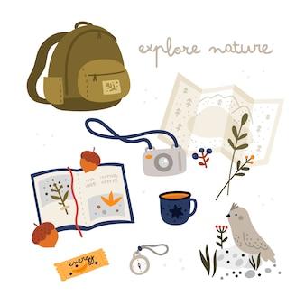 Esplora la collezione natura. attrezzatura turistica nello stile piano isolata su bianco