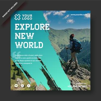 Esplora il nuovo mondo di attività di viaggio instagram post social media premium design