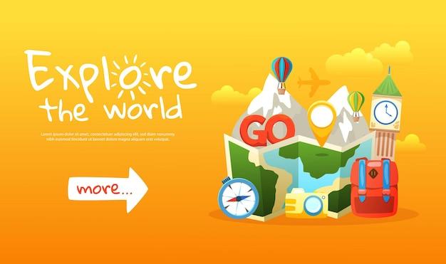 Esplora il banner orizzontale colorato del mondo con elementi di viaggio