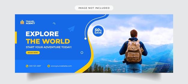 Esplora il modello di copertina di facebook dell'agenzia di viaggi mondiale