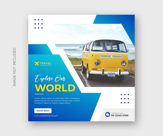 Esplora i social media delle agenzie di viaggio mondiali e il design del modello di banner