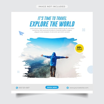 Esplora il modello di post e banner sui social media dell'agenzia di viaggi mondiale
