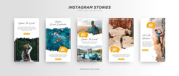Esplora il mondo pennello bianco banner multimediale instagram tories travel