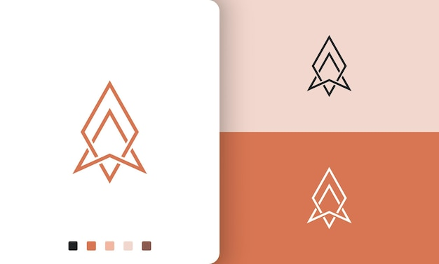 Design vettoriale del logo explorer o bussola con uno stile semplice e moderno