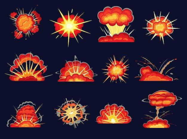 Set di cartoni animati di esplosioni con esplosione di bomba ed effetti comici. scoppi di bombe con fuoco e flash di potenza esplosiva, fumo, fiamme, nuvole di polvere e scintille, fumetti e design di animazione di gioco