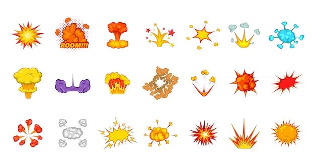 Insieme di elementi di esplosione. insieme del fumetto degli elementi di vettore di esplosione