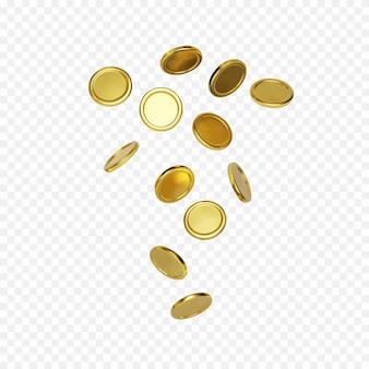 Esplosione di moneta d'oro realistica su sfondo trasparente. concetto di tesoro in contanti. jackpot o elemento di vincita del poker del casinò. soldi che cadono o volano. vettore