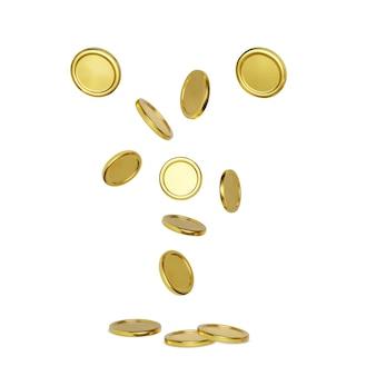 Esplosione di moneta d'oro realistica su priorità bassa bianca. concetto di tesoro in contanti. jackpot o elemento di vincita del poker del casinò. soldi che cadono o volano. vettore