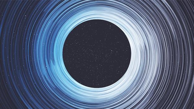 Buco nero a spirale di esplosione su sfondo galaxy.