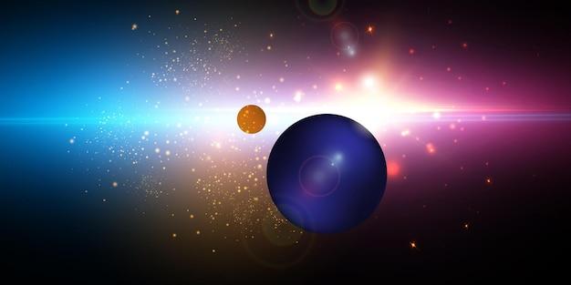 Esplosione di una stella nello spazio con abbagliamento e raggi luminosi.