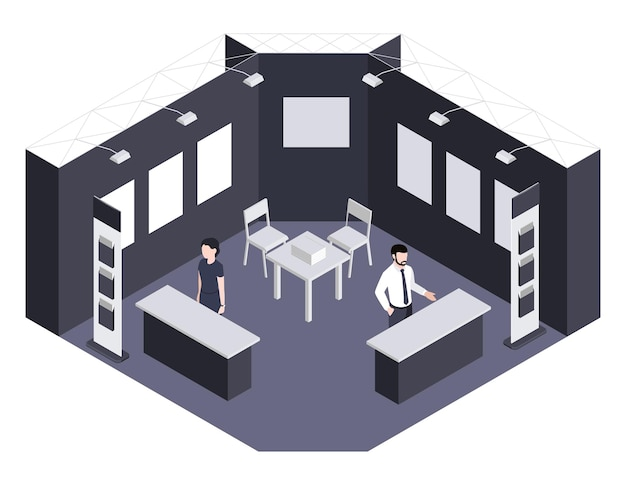 Illustrazione isometrica del centro espositivo della sezione espositiva con consulenti in attesa di visitatori