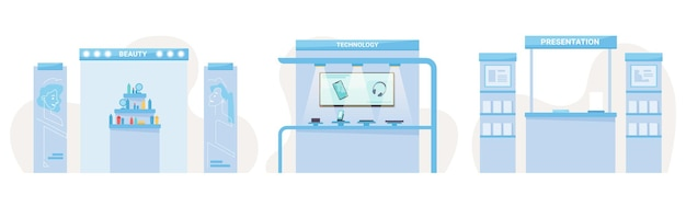Stand espositivi expo di tecnologia di bellezza e stand di presentazione di libri impostare interni vettoriali