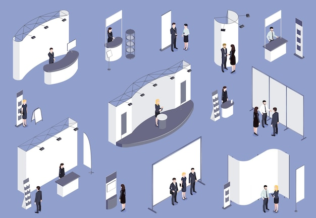 Expo stand isometrico colorato impostato su lilla con personale di consulenti visitatori che lavora per la mostra