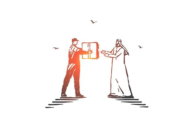 Illustrazione di schizzo di concetto di affari di consegna espressa