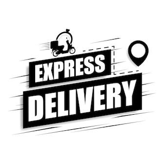Icona di consegna espressa su sfondo bianco. moto con icona cronometro per servizio, ordine, consegna veloce, gratuita e in tutto il mondo. illustrazione vettoriale.