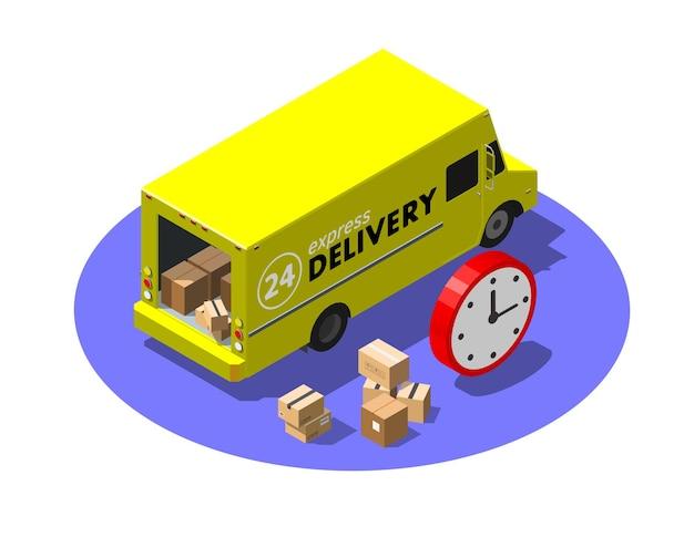 Concetto di servizio di consegna espressa con furgone giallo e pacchi di cartone