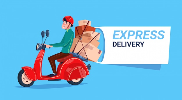Express delivery service courier boy riding motor bike banner