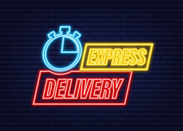 Icona al neon del servizio di consegna espressa. ordine di consegna veloce con cronometro. illustrazione di riserva di vettore.