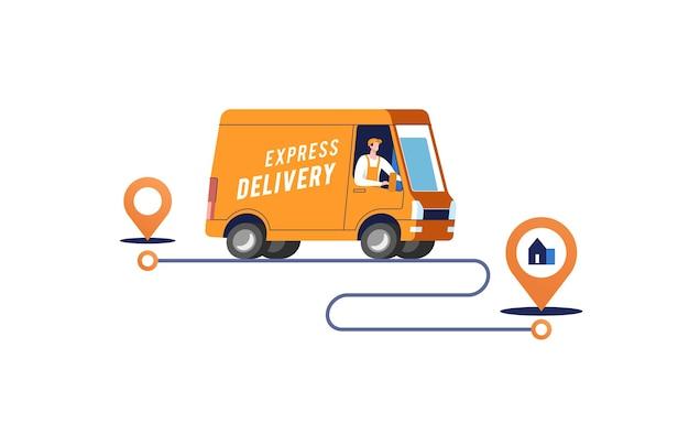 Il camion di consegna espresso con l'uomo sta trasportando i pacchi sull'illustrazione dei punti
