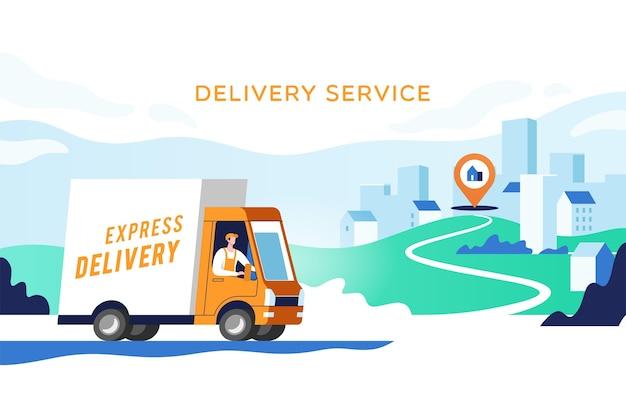Il camion di consegna espresso con l'uomo sta trasportando i pacchi sui punti
