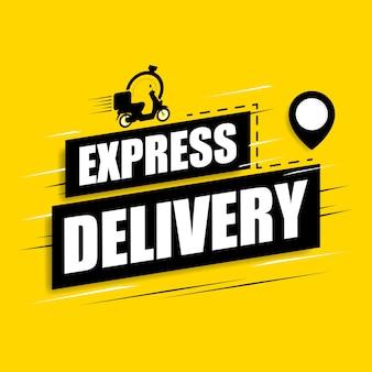 Consegna espressa con banner scooter