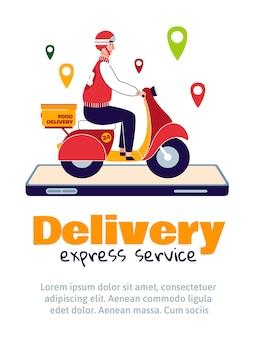 Servizio di consegna di cibo espresso - corriere su scooter sullo schermo del telefono