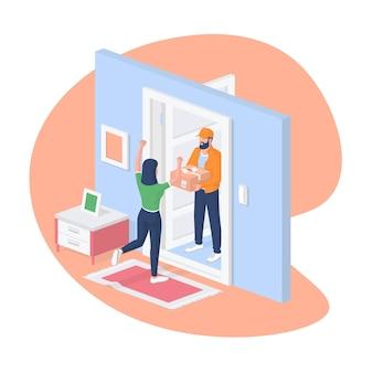 Illustrazione isometrica di consegna a domicilio espressa. il personaggio femminile saluta felicemente il pacchetto ordinato. il corriere maschio sta in una porta aperta con una scatola di cartone