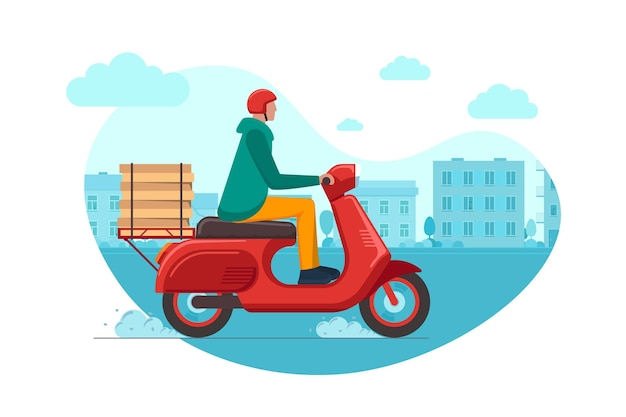 Consegna pizza espressa in città tramite corriere con servizio d'ordine su ciclomotore. maschio logistico veloce su scooter rosso che consegna scatola di cibo sulla strada del paesaggio urbano. merci che trasportano illustrazione vettoriale eps