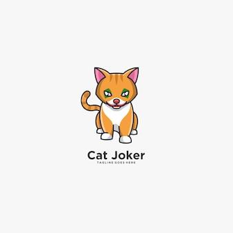 Espressione cat joker pose, simpatico logo illustrazione.