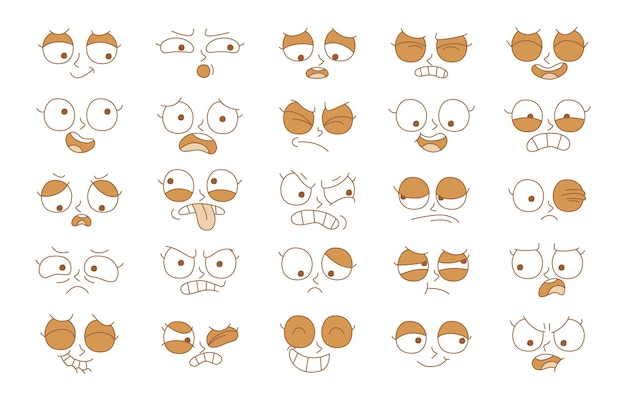 Espressione dell'insieme di concetti di emozione. fronte di emozione dell'illustrazione del fumetto dell'essere umano.