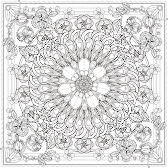 Squisito disegno di sfondo mandala con elementi floreali