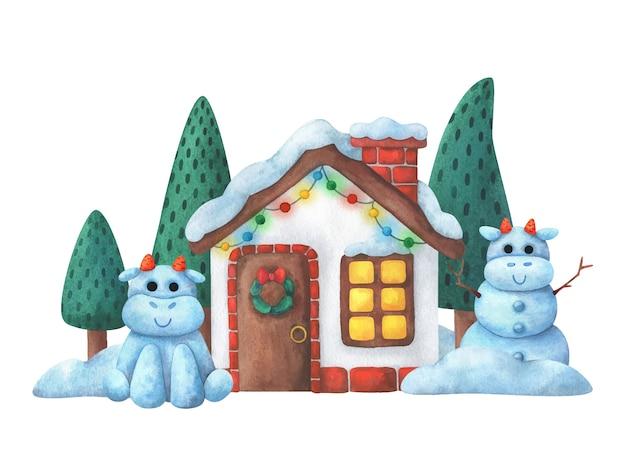 Esterno di una casa di natale con decorazioni e tori di neve. illustrazione per il nuovo anno 2021