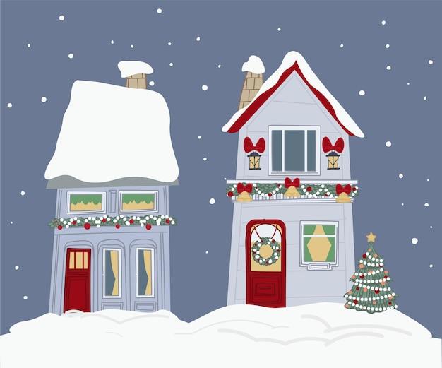 Esterno di case decorate con rami di pino, ghirlande e campane. decorazioni e ornamenti natalizi sulla parte anteriore dell'edificio. inverno e capodanno, vacanze di natale. vettore in stile piatto