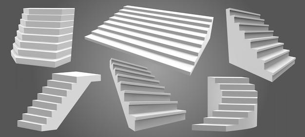 Scale realistiche esterne. scala domestica architettonica, scala moderna. scale, insieme dell'illustrazione delle scale architettoniche. scala interna esterna, scala architettura per la casa