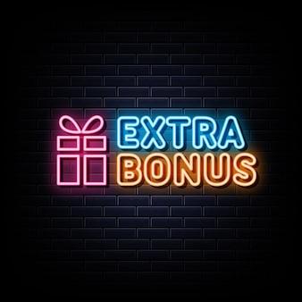Banner luminoso con elemento di design per insegne al neon bonus extra