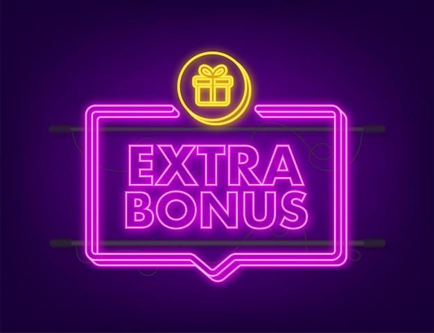 Bonus extra per il design della promozione. icona al neon. modello di promozione banner sconto. modello web per il design promozionale di marketing. illustrazione di riserva di vettore.