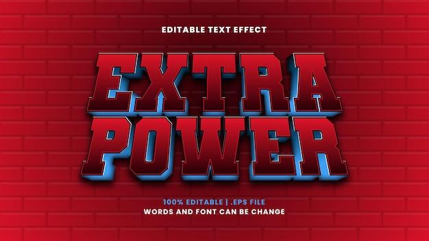Effetto di testo modificabile di potenza extra in moderno stile 3d