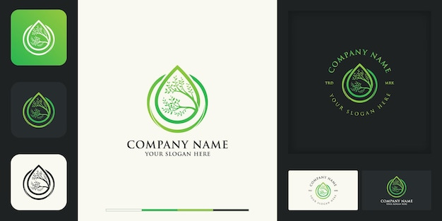Estrai il design del logo vintage moderno della foglia e il biglietto da visita