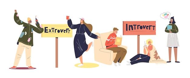 Personaggi dei cartoni animati estroversi e introversi. insieme di persone di mentalità introversa ed estroversa. giovani uomini e donne attivi e calmi. illustrazione vettoriale piatta