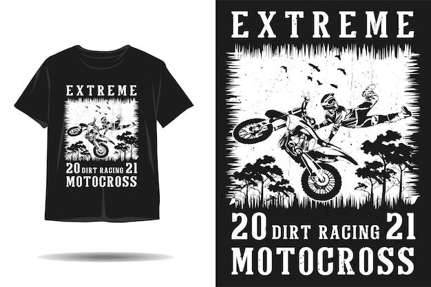 Design della maglietta della silhouette di motocross da corsa estrema della sporcizia