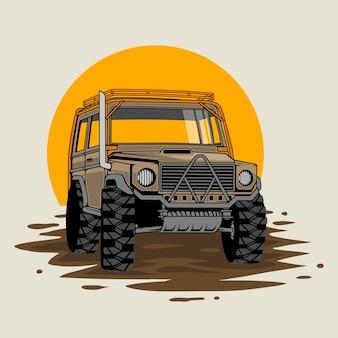 Guida estrema. corse fuoristrada nella giungla. suv o fuoristrada cavalca sulla pozza di fango
