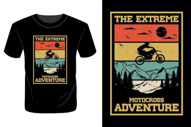 L'estrema avventura motocross t shirt design vintage retrò
