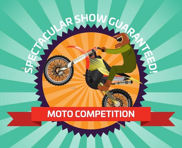Banner di corsa estrema in motocross in design piatto
