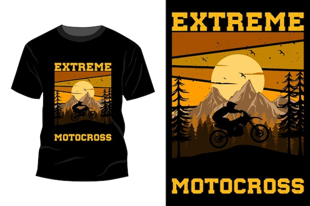 T-shirt da motocross estremo mockup design vintage retrò