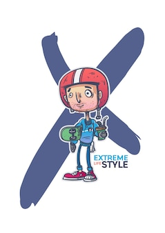 Design del personaggio dei cartoni animati uomo skateboard sport estremo