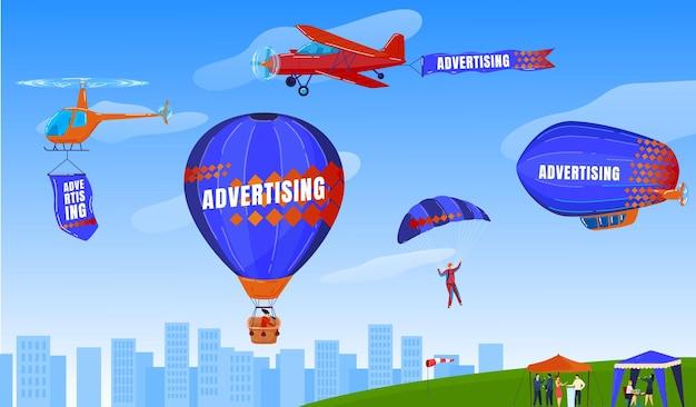 Sport estremo, paracadutismo, parapendio, volo con illustrazione di paracadute.