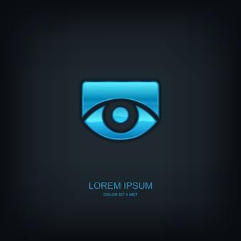Occhio modello astratto emblema logo, idea universale di tecnologia aziendale