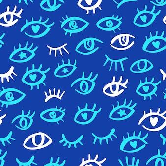 Modello senza cuciture blu occhio con aspetto doodle astratto design in stile semplice con occhi malvagi disegnati a mano
